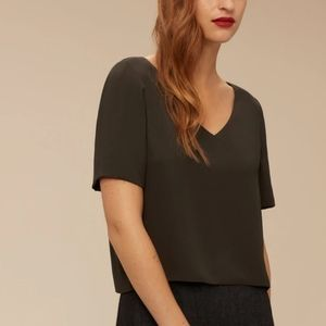 Aritzia Babaton Randy Cropped Short-Sleeve Blouse